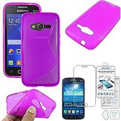 ebestStar - Compatible Coque Samsung Galaxy Trend 2 Lite SM-G318H, Galaxy V Plus Etui Housse Silicone Gel Souple Motif S-Line, Violet +Film Protection Verre Trempé [Appareil: 121.4x62.9x10.7mm 4.0'']