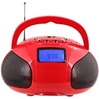 August SE20 - Mini Altoparlante Stereo (2 x 3W) Bluetooth - Boombox Portatile Senza Fili con Radio e Potenti Altoparlanti Stereo Hi-Fi - Funzione Radiosveglia con Lettore Schede SD, USB, AUX in e Batteria Ricaricabile - Compatibile con iPhones, Samsung, Galaxy,Nokia, HTC, Blackberry, Google, LG, Nexus, iPad, Tablets, Mobile Phones, Smartphones, PC's, Laptops etc (Rosso) - 3 Hp Diffusore