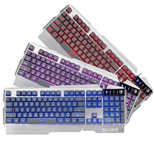 SADES k9 Gaming Tastatur Drei unterschiedliche Modi LED Beleuchtet Beleuchtung 104 Tasten Metall Basis USB Wired Plug-and-Play Keyboard Für PC/Laptop (Silber) US English layout