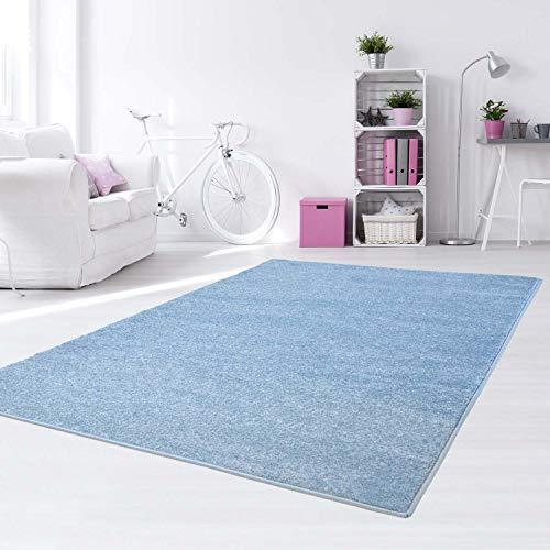 Taracarpet Kinder Teppich für Das Kinderzimmer Bueno einfarbig Hochwertig mit Konturenschnitt Blau Uni 140x200 cm
