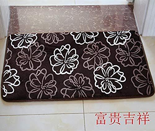 soroucuin store Teppich Waschbar rutschfeste flauschig weich Küchen Kinderteppiche Läufer Korallen Samt weiße Blume 8MM abnehmbare und waschbare Pflege 50x80CM -