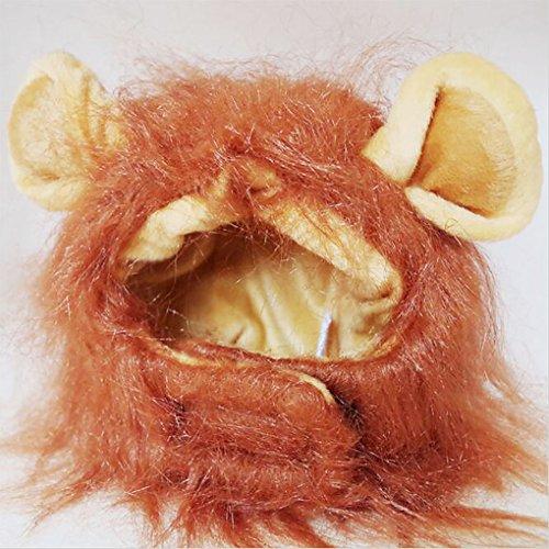 QHGstore Nette lustige Löwe-Mähne-Perücke-Kappen-Hut mit Ohren für Halloween-Haustier-Katzen-Weihnachtskostüm-Kleidung Sonstiges (Niedliche Haustier Katze Halloween Kostüme)