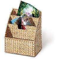 Revistero, cesta para revistas, 3 compartimentos, 300 x 210 x 140 mm, hecho de plantas de jacintos