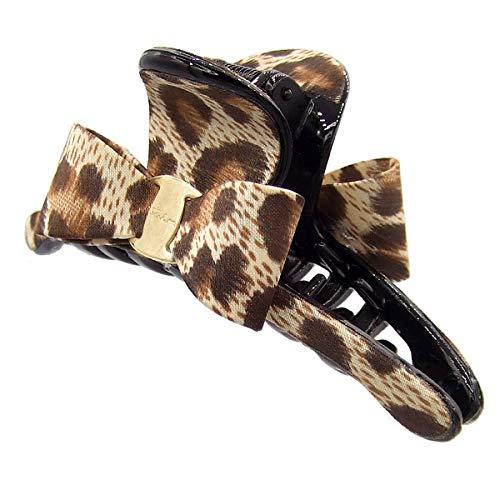 43 – 309 – Pince pour cheveux Maxi Noire cm 9,5 x 3,5 avec nœud et revêtement tissu animalier – Pinces pour Cheveux