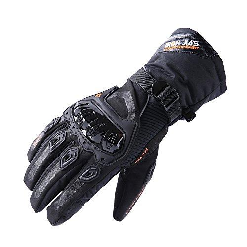 IRON JIA'S Guantes de motos Invierno cálido impermeable Guantes de protección contra el viento Guantes impermeables Luvas modelos de actualización puede pantalla táctil(M,negro) Black(nuevo estilo)