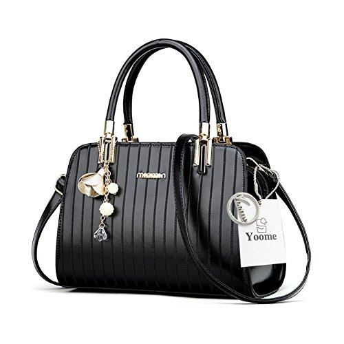 Borse eleganti Yoome Borse a tracolla in metallo a righe con cinturino in tracolla per donne - Nero Nero