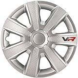 Satz Radzierblenden VR 15-Zoll Silber/Karbon-Look/Logo