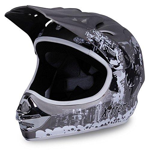 Actionbikes Motorradhelm X-treme Kinder Cross Helme Sturzhelm Schutzhelm Helm für Motorrad Kinderquad und Crossbike Modell Design 2015 in dunkel grau Matt (X-Large)