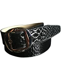 Calvin Klein Wide Belt Buckle Glossy Silver Tone Buckle Black XL