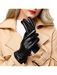 Acdyion Damen Winter Leder Handschuhe Touchscreen Echt Leder Nachrichten Schreiben Texting Fahren Winter Warm Handschuhe mit Kaschmir