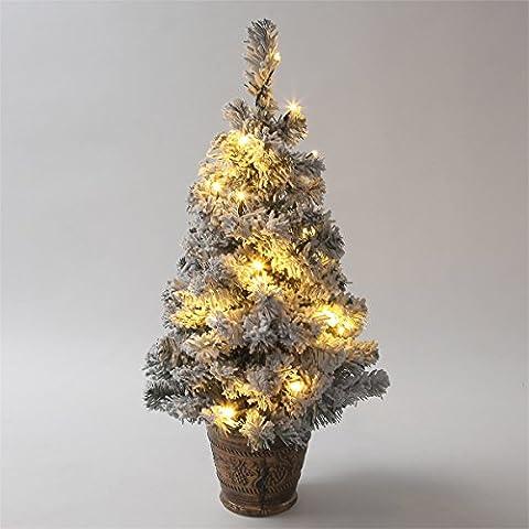 Sapin de Noël Artificiel Effet Enneigé Pré-Illuminé 20 LED Avec Pot à Piles 61cm
