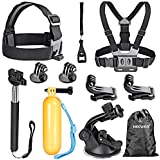 Neewer® 8-in-1 Accessories Kit for GoPro Hero4 Session 4/3+/3/2/1, SJ4000, SJ5000, SJ6000, SJ7000 Sports Cameras, Kit Includes: Head Belt Strap Mount+ Chest Belt Strap Mount + Extendable Handle Monopod + Car Suction Cup Mount Holder + Floating Handle Grip + (2) Tripod Mount Adapter + (2) Gopro Surface J-Hook Buckle + Wrench + Neewer Pouch