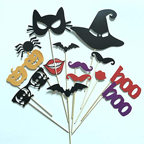 14 Stück/Set kreative Halloween-Foto-Requisiten, Fotobooth Hochzeit Event Party Supplies Papier Bart rote Lippen Party Dekoration