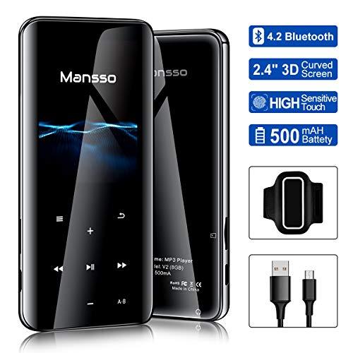 MP3 Player, Mansso 8GB Bluetooth 3D gekrümmtes Oberflächendesign 2.4 Zoll TFT Bildschirm MP3 Player, mit Lautsprecher FM Radio Voice Recorder, Speicher Erweiterbar bis 128 GB