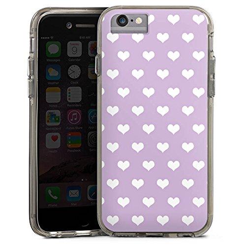 Apple iPhone X Bumper Hülle Bumper Case Glitzer Hülle Herzchen Flieder Polka Bumper Case transparent grau
