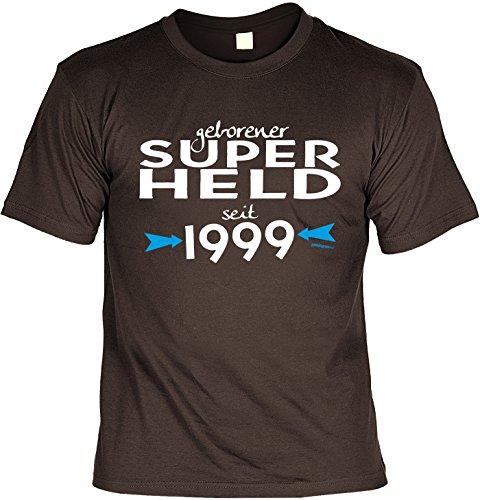 neues T-Shirt zum 18. Geburtstag Super Held seit 1999 Geschenk zum 18 Geburtstag 18 Jahre Geburtstagsgeschenk 18-jähriger Braun