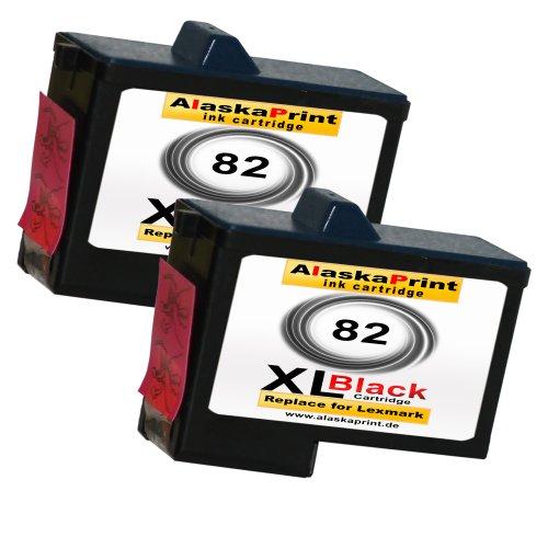 Premium 2x Kompatible Druckerpatronen Als Ersatz für Lexmark 82xl für Lexmark X5100 X5130 X5150 X6100 X6150 X6170 Z55 Z65 Z56 X6190 X5200 X5190 X5170 Z65p 2x82-lex Lexmark Tintenpatronen X6170