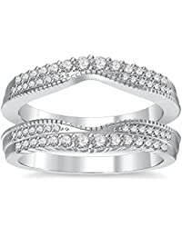 Silvernshine 14K White Gold PL Clear Simulated Diamonds Double Row Wedding Ring Guard Enhancer