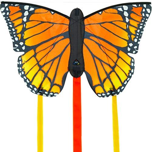 """HQ100306 - Butterfly Kite Monarch \""""R\"""" Kinderdrachen Einleiner, ab 5 Jahren, 34x52cm und 2x300 cm Drachenschwanz, inkl. 10kp Polyesterschnur 25m auf Griff, 2-5 Beaufort"""