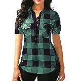 SEWORLD Damen Sommer Mode Übergröße Plaid Criss Kreuz Vordere Spitze Kurzarm Bluse Pullover Top Shirt (XL, Grün)