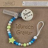 Timfanie Schnullerkette mit Gravur für Jungen | blau-lemon-Star
