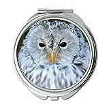 Yanteng Spiegel, Taschenspiegel, Eulenkunst Habichtskauz oder Uralkauz Strix uralensis, Taschenspiegel, tragbarer Spiegel