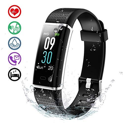 KALINCO Aktivitätstracker Fitness Armband mit Pulsmesser 0,96 Zoll Farbbildschirm Fitness Tracker Pulsuhren Schrittzähler Schlafmonitor für Damen Herren 14 Trainingsmodi (Schwarz1)