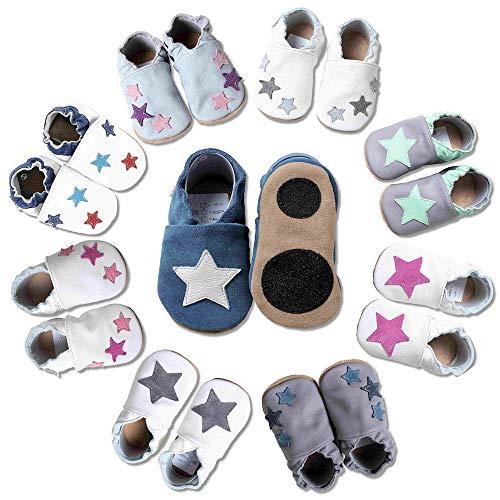 HOBEA-Germany Baby Lauflernschuhe Sterne mit Anti-Rutsch-Pads, Kinder Hausschuhe, Lederschuhe, Design: blau mit weißem Stern, Größe 24/25 (24-30 Mon)