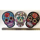 parche craneo Parches Para La Ropa Parches Parches bordados rock conjunto 3 piezas craneos candy skulls