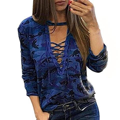 Femmes Sexy Salopette Hauts, Reaso Mode Loisir Camouflage Manches longues Chemise Shirt Tops Blouse (L, Bleu)