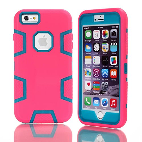 iPhone 6 Plus Coque,6S Plus Coque,Lantier 3 couches [Hard PC+Soft TPU silicone][Shock Absorption] Housse de protection Armure de design carré pour Apple iPhone 6/6S Plus (5,5 pouces) Noir + Hot Pink Hot Pink+Blue