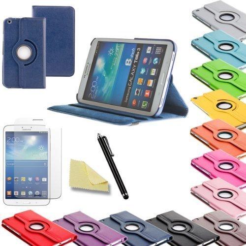 3in1 SET Tab3 8.0 360° Schutzhülle + Folie + Pen Samsung Galaxy Tab 3 8.0 SM-T310 T311 T315 Tasche Etui (Dunkelblau)