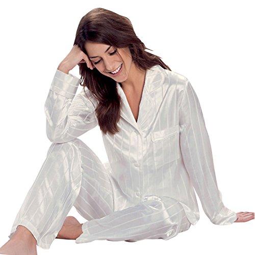 Taubert Berlin Satin Pyjama Damen Schlafanzug Off-White