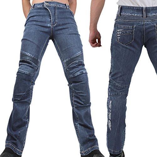 Motorradhose Jeans -Ranger- Leicht Dünn Herren Sommer Textil Jeanshose Slim Fit Motorrad Textilhose Männer Eng Stretch - schwarz - L