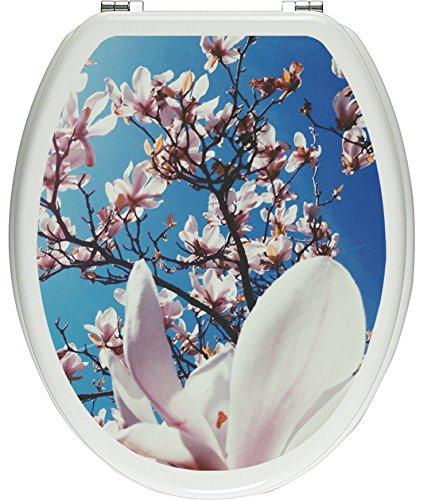 Pixxprint 3D_WCs_2070_32x40 Zarte Rosa Magnolie Blüten als Toilettendeckel Aufkleber, WC, Klodeckel, gläzendes Material, bunt, 40 x 32 cm