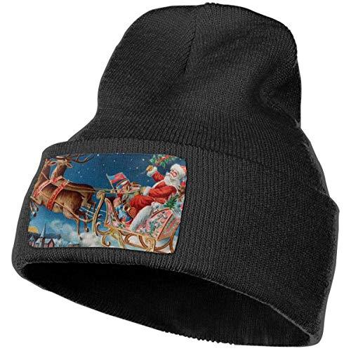 Vintage Santa Sleigh Deer Flying Beanie Hat Men Women Plain Cuff Ski Skull Hats -