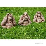 Garden Mile 3Stk. Weisen Affen Steingarten Ornamente, Große Hören Nichts Böses, Speak nichts böses, Siehe nichts böses Vintage Garten Skulpturen
