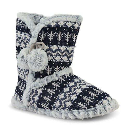 Mesdames Chaussons Dunlop pour femme en tricot d'hiver chaud Chausson Pantoufles Fair Isle Bottines Esquimau Marine Gris pompon