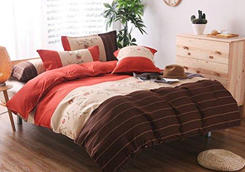 Bettwäsche Bettgarnitur 2-3 teilige Satin , Gestreift Flickwerk Mikrofaser Bettbezug & Kissenbezüge,5 Größen,5 Farben - Bettwäsche 230x264 cm mit 2 Kissenbezügen 51x91