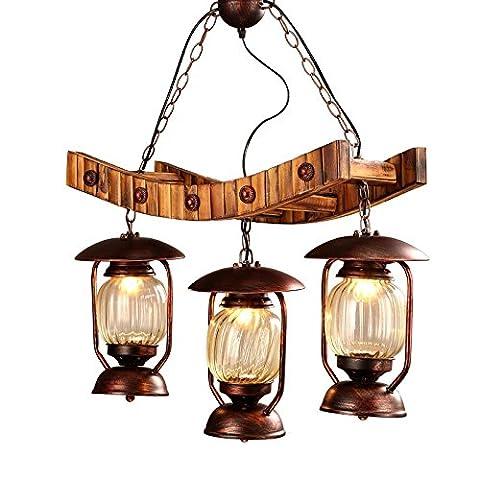 Wandun American Retro Rustic Wood Chandelier Three Old Kerosene Lamp Style Dining Room Chandelier Art Lights