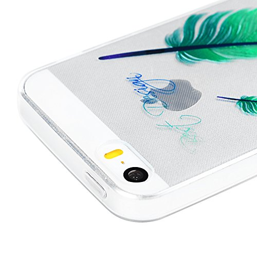 iPhone 5 5G 5S SE Crystal Case Hülle YOKIRIN Hülle Helle TPU Silikon Case Cover Transparent Handytasche Handyhüll Handycase Etui Backcover Rückseite Protective Schale Schutzhülle Muster:Blume Baum Grüne Feder