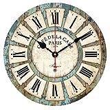 Alicemall Pendule Murale en Bois Décoration Industrielle Design Horloge Murale Silencieuse Style Vintage (5)