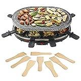parrilla de piedra de raclette con 8 espátulas de madera para cocinar más sano, 1500W