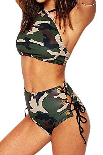 Hohe Taille Eng Frauen Heiß Tarnung Hängen Hals Verband Bikini - Badeanzug Camouflage S