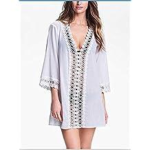 ETGtek(TM) Estilo del verano del traje de baño de las mujeres ropa de playa de playa de la túnica de las mujeres atractivas V-cuello flojo Bikini Beach Cover Up-Blanco
