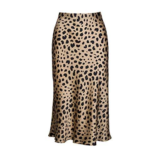 Mujer Faldas Falda Midi Leopardo de Cintura Alta Mujer Oculta Elasticized Cintura Seda Satén Faldas Estilo de Deslizamiento Animal Print Falda Mujeres