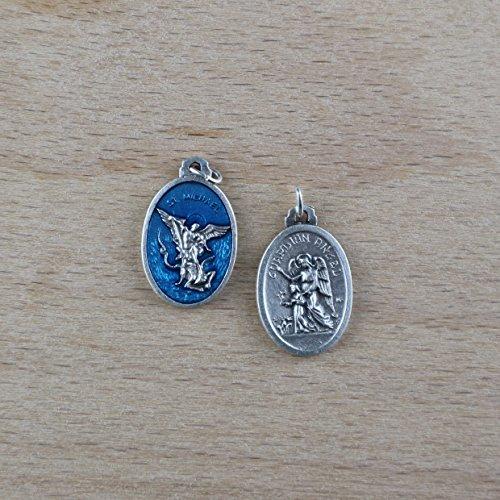 Heilige Erzengel Michael und des Schutzengels Medaille versilbert - 10 Stück Medallas De Plata