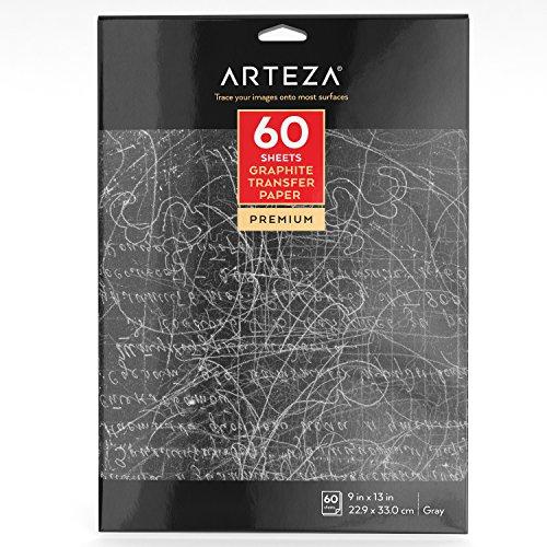Arteza Graphit Transfer Papier, 22,9 x 33 cm 60 Blatt (grau)