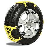 ZUOAO 6er Set Schneeketten,Anti Skid Nail Auto Snow Tire Ketten,Universal Schneereifenketten Anti Rutsch Kette Für Auto SUV LKW mit 165 mm-285 mm Reifen Breite,Einfach zu Installieren Schneekette Gelb