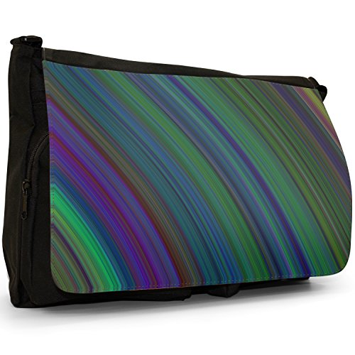 Fancy A Bag Borsa Messenger nero Hippy Pattern Modern Stripes Green Purple
